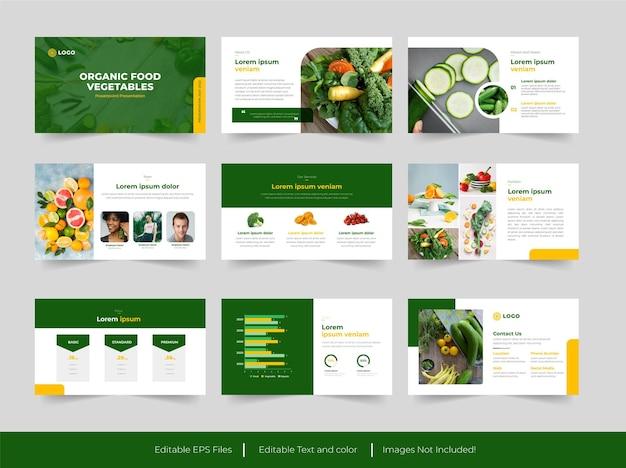 Modello di diapositiva per presentazione di alimenti biologici e verdure