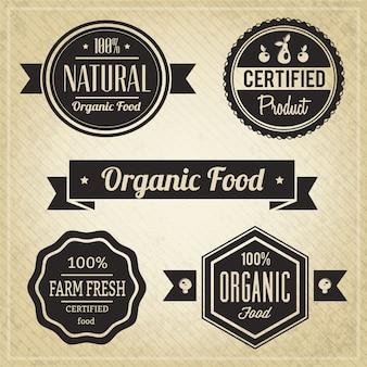 Alimenti biologici, etichette vintage