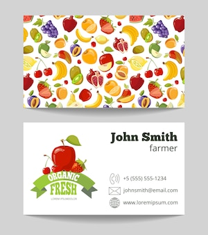 Modello di biglietto da visita dell'agricoltore di frutta biologica