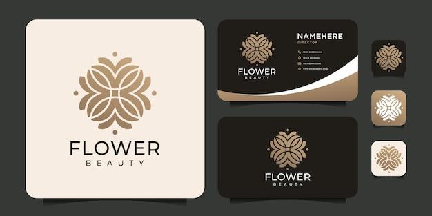 Ispirazione per il concetto di bellezza della spa con logo a foglia di fiore organico sfumato