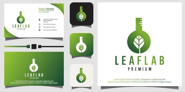 Vettore di logo di laboratorio biologico verde bio