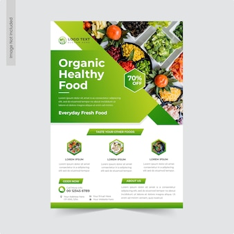 Volantino per alimenti sani biologici o modello di volantino per ristorante