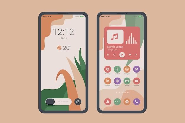 Tema organico della schermata iniziale per smartphone