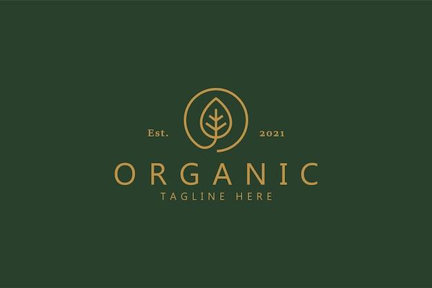 Foglia organica al concetto di logo del cerchio