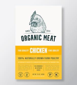 Disegno di imballaggio vettoriale astratto di carne biologica o modello di etichetta fattoria coltivata pollame banner tipo moderno...