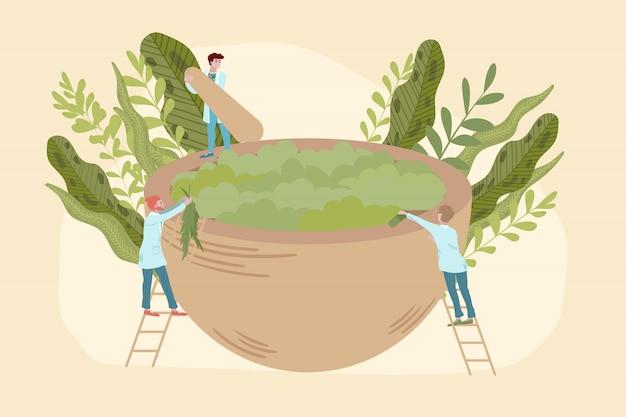 Concetto di medicina biologica con medici, bio trattamento a base di erbe e piante, naturopatia, illustrazione piatta omeopatia.