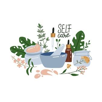 Cosmetici biologici e naturali. crema, lozione, siero, mortaio e pestello. concetto di cura di sé. illustrazione piatta.