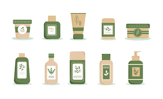 Cosmetici bio naturali ecofriendly set di flaconi, vasetti e tubetti con decoro a base di erbe