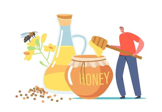 Cibo naturale biologico, piccolo personaggio di apicoltore che tiene un enorme mestolo con miele di colza vicino a un barattolo di vetro con olio