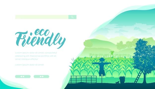 Layout della home page del sito web del negozio di prodotti biologici e naturali. banner web eco turismo con spazio testo.