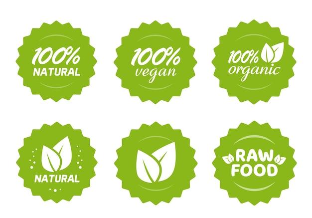 Organici naturali vegani e alimenti crudi nutrizione icona etichetta adesivi con foglie set