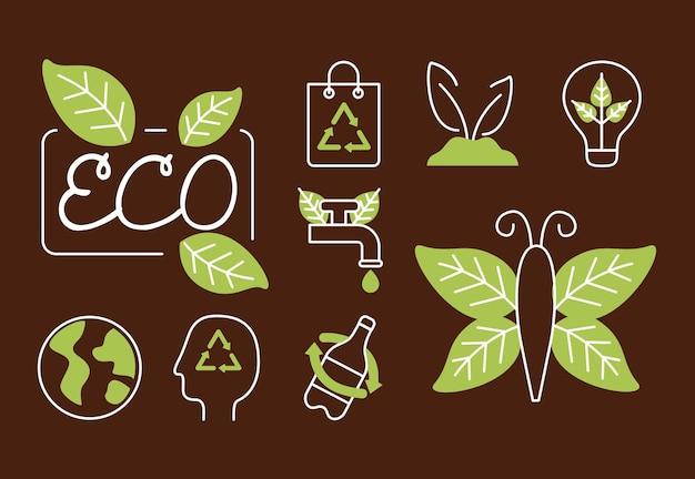 Nove icone del biologico e della natura