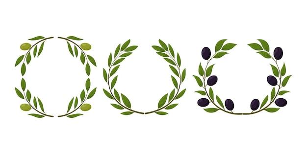 Set di prodotti a base di olive biologiche corona di olive nere