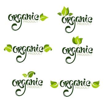 Prodotto biologico, scritte naturali e vegane