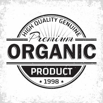 Etichetta vintage di prodotti biologici, emblema di prodotti naturali, timbro di stampa grange, emblema di tipografia di produzioni biologiche,