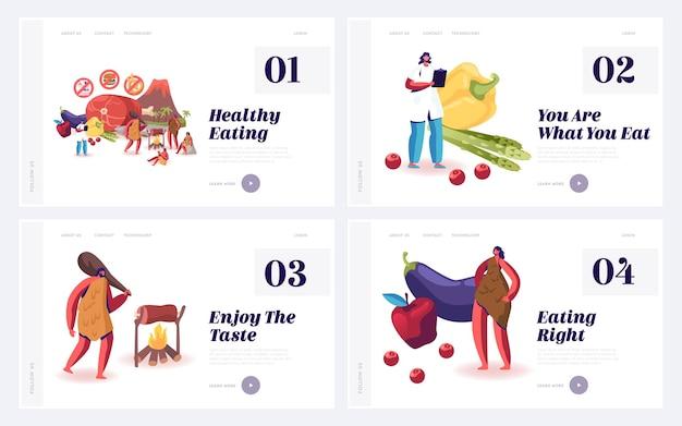 Dieta paleo di nutrizione cruda organica come set di pagine di destinazione del sito web di stile di vita del cavernicolo.