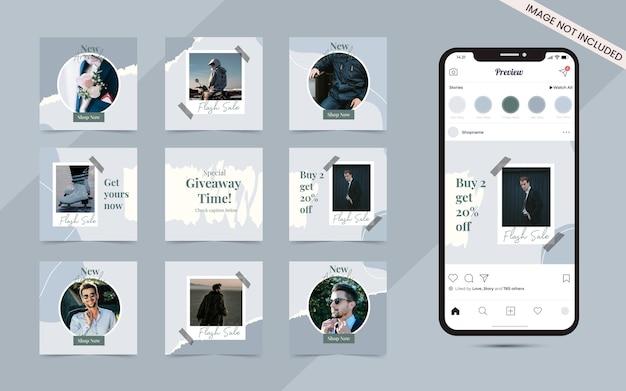 Banner di post instagram social media rustico organico per promozione della vendita di moda
