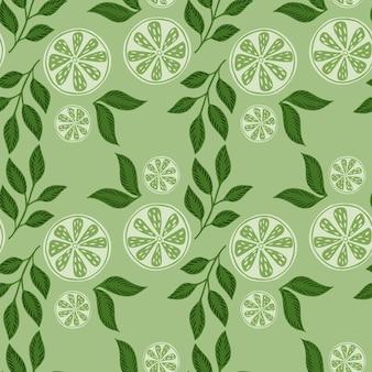 Modello senza cuciture organico con stampa decorativa di fette di limone. colori verde pastello. contesto casuale di agrumi. illustrazione di riserva. disegno vettoriale per tessuti, tessuti, confezioni regalo, sfondi.