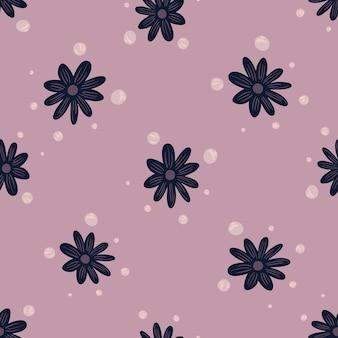 Modello senza cuciture organico con stampa doodle fiori blu navy. sfondo lilla. con forme di bolle. stampa vettoriale piatta per tessuti, tessuti, confezioni regalo, sfondi. illustrazione infinita.