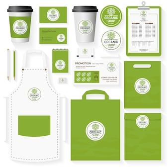 Insieme del modello di identità aziendale del negozio biologico