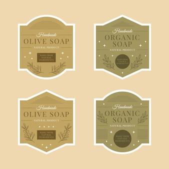 Etichette di saponi biologici con raccolta di foglie