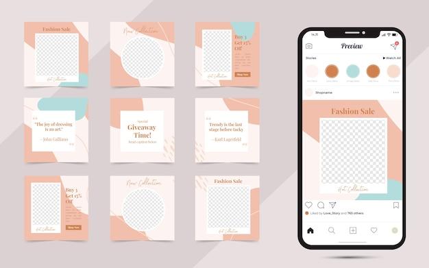 Banner di post instagram di social media organici per modelli di design di promozione della vendita di moda