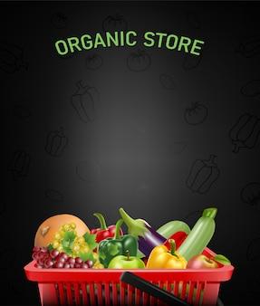 Illustrazione di negozio biologico con cestino rosso della spesa realistico e frutta e verdura all'interno.