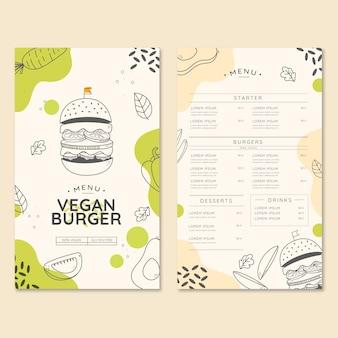 Menu del ristorante di hamburger biologico vegano