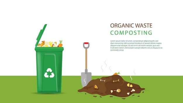 Processo di riciclaggio dei rifiuti organici per il compost