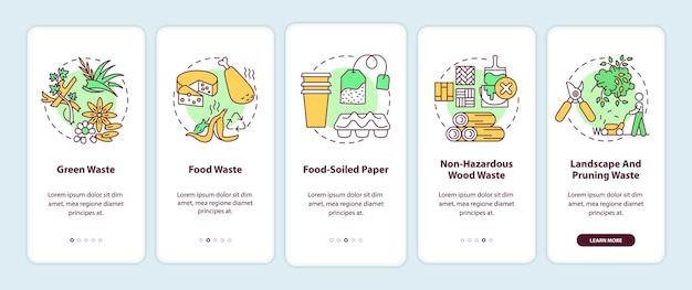 Tipi di rifiuti organici onboarding schermata della pagina dell'app mobile con concetti. modello di interfaccia utente in 5 passaggi per la guida ai rifiuti di legno verdi, alimentari e non pericolosi con illustrazioni a colori rgb