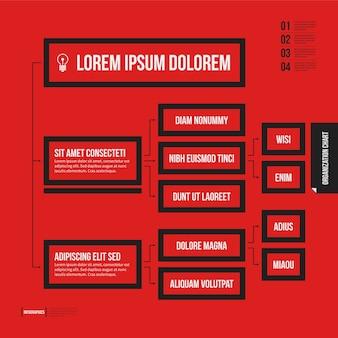 Modello di grafico di organizzazione con elementi geometrici su sfondo rosso brillante.
