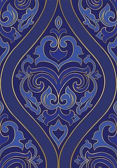 Modello blu orientale. sfondo retrò senza soluzione di continuità.