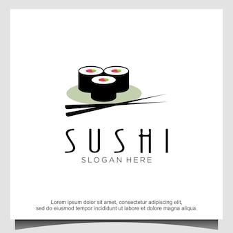 Ispirazione per il design del logo del sushi giapponese orientale