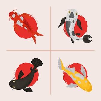 Set di icone di carpe koi orientali
