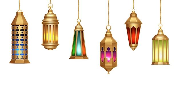 Lampade orientali. lanterne arabe pendono da catene d'oro. illuminazione decorativa realistica isolata.