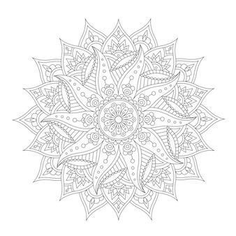 Mandala orientale isolato su sfondo bianco per il tatuaggio all'henné e per il tuo design. illustrazione