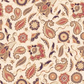 Modello senza cuciture paisley orientale con motivo tradizionale buta persiano ed elementi mehndi su begie