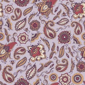 Modello senza cuciture paisley orientale con motivo tradizionale buta persiano ed elementi mehndi