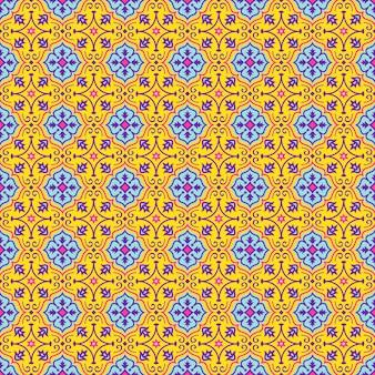 Modello senza cuciture orientale nei colori gialli, blu, rosa e viola. ornamento orientale colorato.