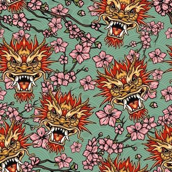 Elementi tradizionali orientali senza cuciture con teste di drago e rami di sakura con fiori che sbocciano