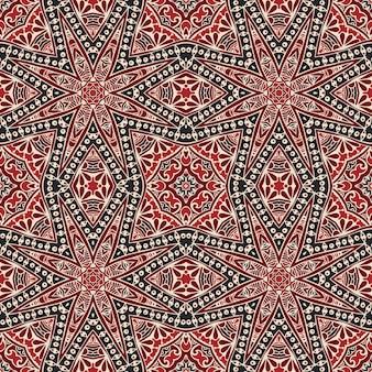 Ornamento tradizionale orientale, reticolo senza giunte di stile di doodle, disegno delle mattonelle Vettore Premium