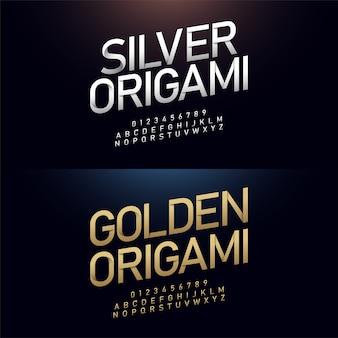 L'alfabeto di origami e la carta giapponese di numero tagliano il concetto