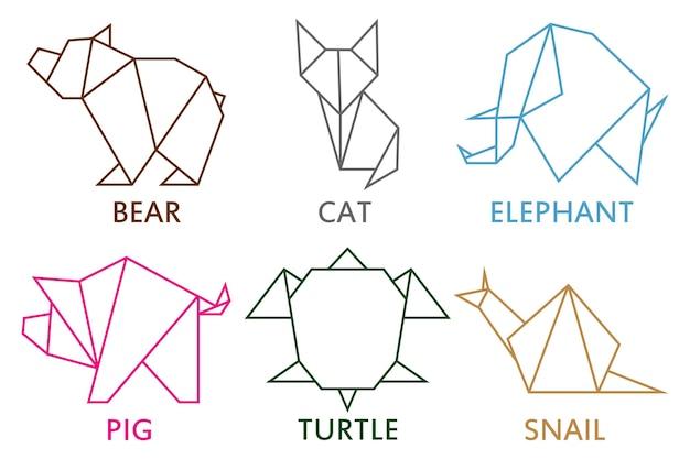 Collezione di animali origami set di forme geometriche lineari per l'arte della carta piegata