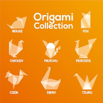 Collezione di animali origami