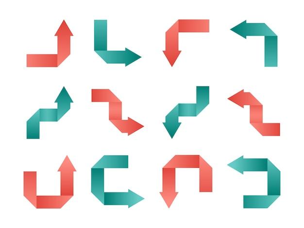 Origami freccia rosa e verde su sfondo bianco set di raccolta di frecce