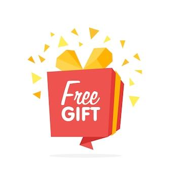 Bandiera della scatola di origami. consegna gratuita, illustrazione vettoriale concetto regalo