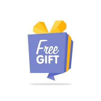 Banner scatola origami / consegna gratuita, concetto regalo