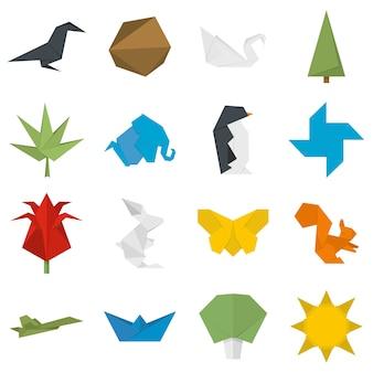 Set di icone di origami