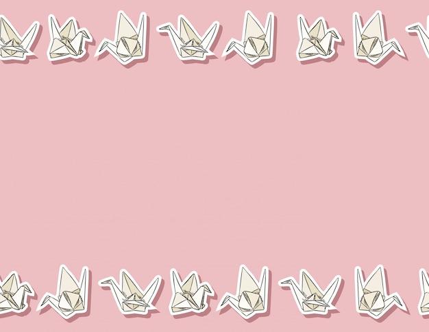Modello senza cuciture disegnato a mano di cigno di carta di origami in colori pastello