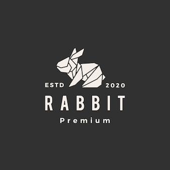 Illustrazione d'annata dell'icona di logo dei pantaloni a vita bassa del coniglietto della lepre del coniglio di origami
